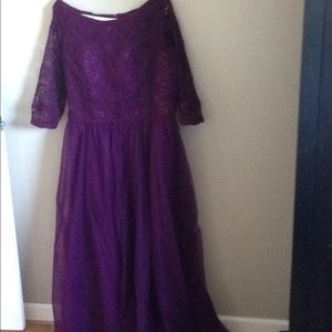 Eggplant color lace tulle dress